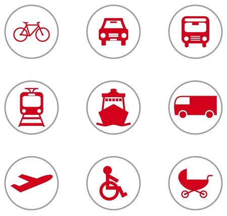Set of 9 Flat Design Locomotion Icons red grey