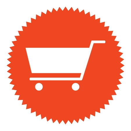 Isolated round red Button with Shopping icon