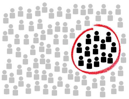 Illustration of many people with red circle around Target Group Stock Photo