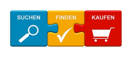 onlineshop: Three Puzzle Buttons with symbols showing Search Find Buy in german language