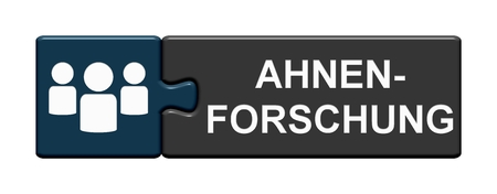 Isolated Puzzle Button with Symbols showing Genealogy in german language 版權商用圖片