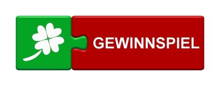 독일어 언어로 경품을 보여주는 상징으로 고립 된 퍼즐 버튼 스톡 콘텐츠 - 83888197