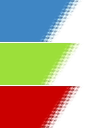 Set of three background stripes with diagonal gradient dots blue green red Stock Photo