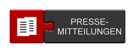 Isolated Puzzle Button with Symbols showing Press Releases in german language Stock Photo