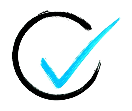 Painted isolated blue tick in black circle