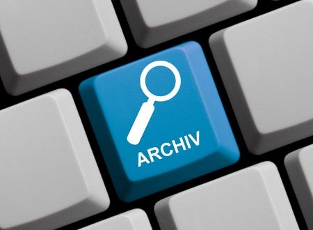 Blue computer keyboard: Archive in german language
