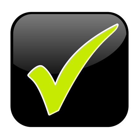 Isolated black Button with green tick