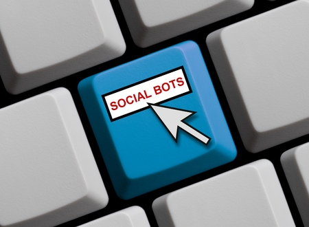 Computer Keyboard with Mouse arrow showing Social Bots