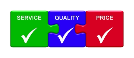 Three Puzzle Buttons with tick symbol showing Service Quality Price Stock Photo