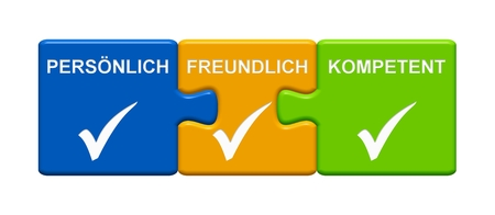 Three Puzzle Buttons with tick symbol showing Personal Friendly Capable in german language Reklamní fotografie