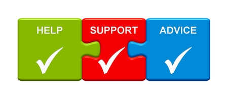 Three Puzzle Buttons with tick symbol showing Help Support Advice Stock Photo