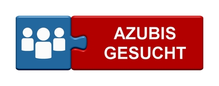 Isolated Puzzle Button with Symbols showing Apprentices Wanted in german language