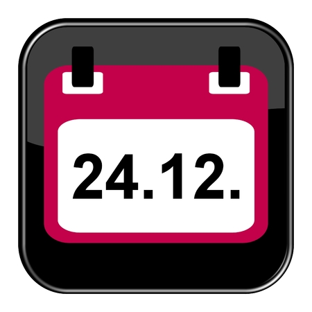 Isolated black Button with calendar showing December 24th german