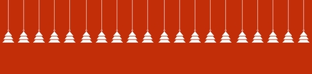 Wide red background with hanging white christmas trees Stock Photo