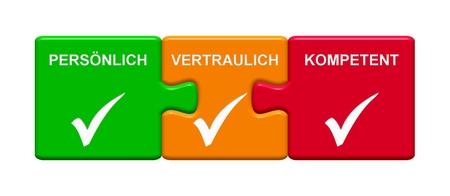 Drie Puzzelknoppen met tiksymbool die Persoonlijk, Vertrouwelijk, Geschikt in Duitstalig tonen