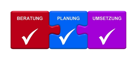 Three Puzzle Buttons with tick symbol showing Consulting Planning Implementation