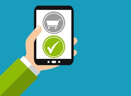 Hand holding Smartphone: Online Shopping - Flat Design