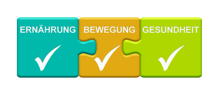 Three Puzzle Buttons with tick symbol showing Diet Sport Health in german language Stock Photo