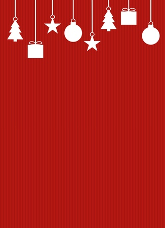 Red striped background with white Christmas Decoration