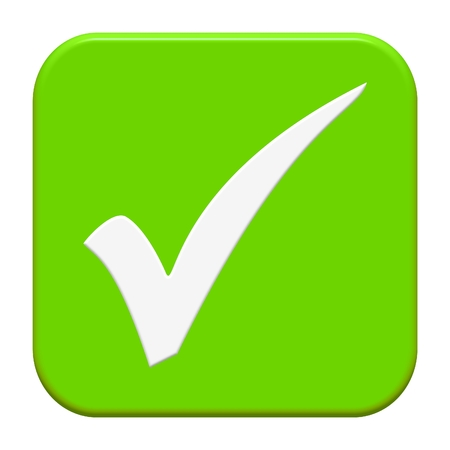現代の隔離された緑のボタン:ティック