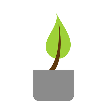 Isolated Plant Icon with Flower Pot