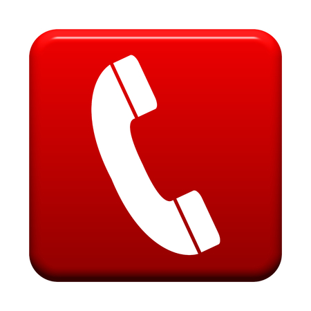 Shiny isolated red Button: Hotline Icon Stock Photo