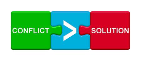 競合とソリューションを示す目盛り記号と 3 つのパズルのボタン 写真素材