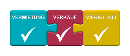 Three Puzzle Buttons with tick symbol showing Renting, Selling, Repair Shop in german language
