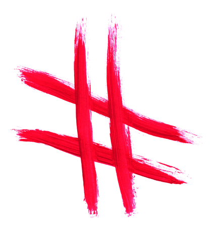 Sketch of hand painted red hashtag icon