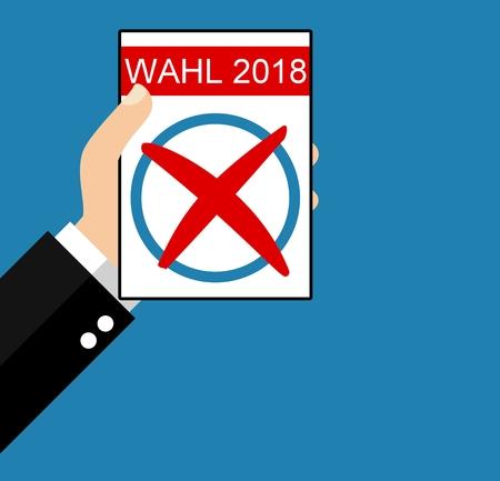 Main tenant un papier - Élection 2018 en langue allemande Banque d'images - 92445389
