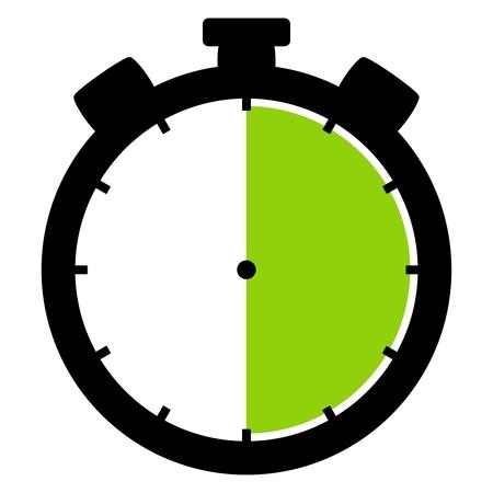 격리 된 스톱워치 아이콘 검은 녹색 30 초 30 분 또는 6 시간을 보여줍니다.