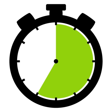 Isolated stopwatch icon black green shows 35 Seconds 35 Minutes or 7 hours