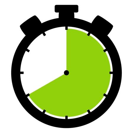 격리 된 스톱워치 아이콘 검은 녹색 40 초 또는 40 시간을 보여줍니다 스톡 콘텐츠