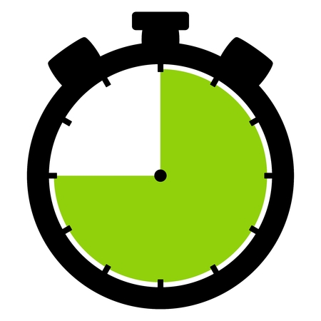 Isolated stopwatch icon black green shows 45 Seconds 45 Minutes or 9 hours Stock Photo