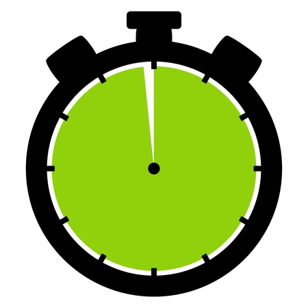 Isolated stopwatch icon black green shows 59 Seconds or 59 Minutes
