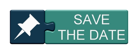 Isolated Puzzle Button with Pin Symbol showing Save The Date Stockfoto