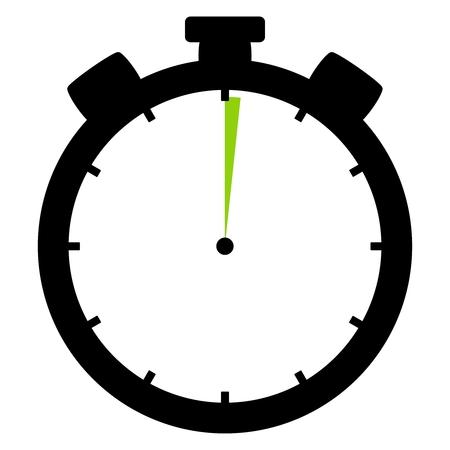 격리 된 스톱워치 아이콘 검은 녹색 1 초 또는 1 분을 보여줍니다.