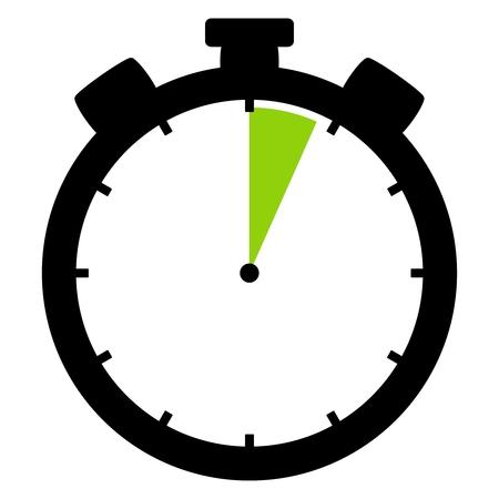 격리 된 스톱워치 아이콘 검은 녹색 4 초 또는 4 분을 보여줍니다. 스톡 콘텐츠