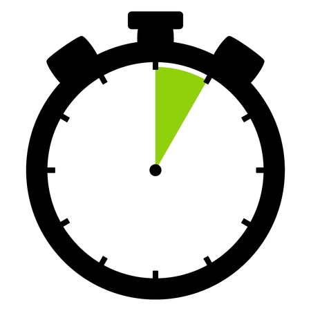 Isolated stopwatch icon black green shows 5 Seconds 5 Minutes or 1 hour Banque d'images