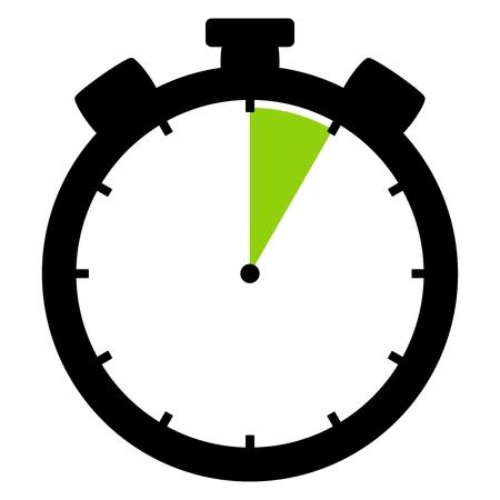 L'icona cronometro isolata in verde nero mostra 5 secondi 5 minuti o 1 ora Archivio Fotografico - 93651521
