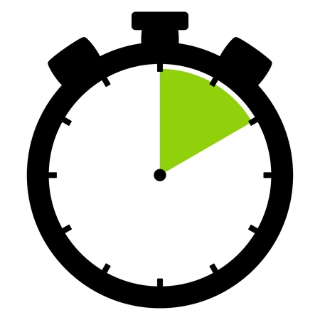 Isolated stopwatch icon black green shows 10 Seconds 10 Minutes or 2 hours Stock Photo