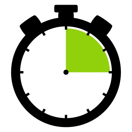 Isolated stopwatch icon black green shows 15 Seconds 15 Minutes or 3 hours