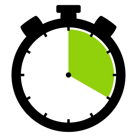 Isolated stopwatch icon black green shows 20 Seconds 20 Minutes or 4 hours