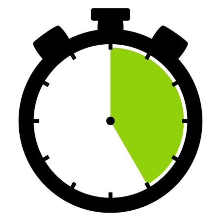 Isolated stopwatch icon black green shows 25 Seconds 25 Minutes or 5 hours