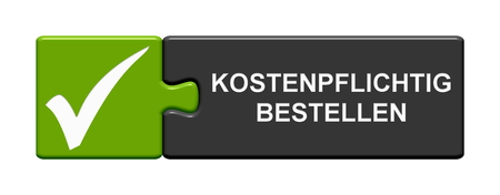Isolated Puzzle Button with Tick Symbol showing Buy and Pay now in german language