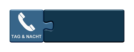 Isolated Puzzle Button with Telephone Symbol showing Space for Telephone Number Night and Day in german language