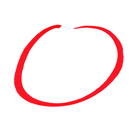 Sketch of isolated red hand drawn pencil circle
