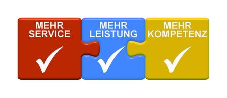Drei Puzzletasten mit Häkchensymbol für mehr Service mehr Effizienz mehr Kompetenz in deutscher Sprache