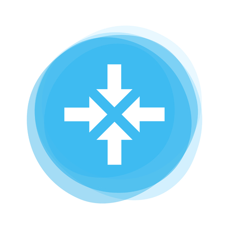 Round light blue Button with 4 white arrows icon showing Meeting Point Stock Photo