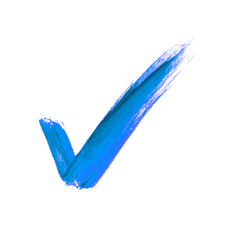 Hand-painted isolated blue brush tick icon